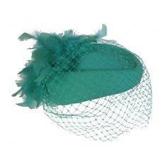 Vintage 80s mint green pillbox hat with birdcage net veil @ StellaRoseVintage, £28.00