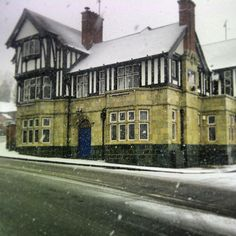 Great British Pub on a snowy day. Nottingham, England, UK.