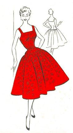 Vintage 1950's Sewing Pattern Square Neck Circle Dress