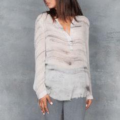 Raquel Allegra Sheer Henley Blouse in Grey Marble Sheer Silk front