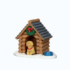 Coventry Cove by Lemax . Log Cabin Dog House . Item # 54943 Approx. size: ( H x W x D ) 2.05 x 2.44 x 1.81 inches
