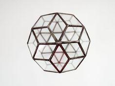 Terariu geometric din sticla / obiect decorativ handmade