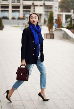 Shop this look on Kaleidoscope (jeans, coat, scarf)  http://kalei.do/XAYbbiFmwBYVJ1k4