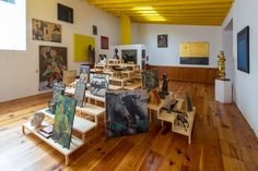 Luis Barragáns personal art collection displayed in Mexico City studio.