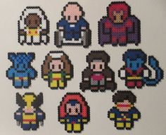 X-men bead sprite set of magnets, hanging ornaments, or wall decor by HouseofGeekiness $6-$50 at https://www.etsy.com/listing/159886835/magnet-set-x-men-inspired-perler-art  #xmen #geek