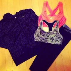 Workout outfit with Nike leopard zip up sweatshirt