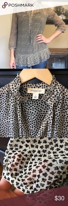 Anthropologie Sheer Tunic Blouse Portrait of a Girl for Anthropologie || Size 4 || Ivory with black clover print || Ruffle collar, V neck with tie, 3/4 sleeves with button cuffs, pleated ruffles at hem, flowy tunic fit || 100% polyester, hand wash || Well-loved but in good condition. No stains or tears, but has a pulled thread near left cuff (see last pic) Anthropologie Tops Blouses