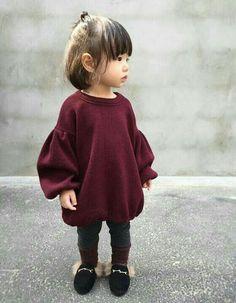 LittleSpring Little Girl Sweater Turtleneck Cute Cherry