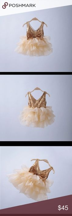 Gorgeous Sequence -bow tutu dress - 2-6 years old Perfect little sequence tutu dress so adorable for the little girl on your life  features sequence on top and tulle on the bottom  cream & gold color  sizes: 2-6 years old  has a big bow on the back  perfect for a birthday girl or a flower girl  new Dresses Formal