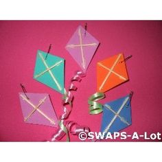 Girl Scout Swaps – Kites. Fun foam or stiff felt, toothpicks, curling ribbon…