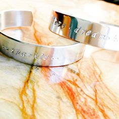 Magically Inspirational - Custom Stamped Bracelet - Personalized Bracelet Cuff - Your Quote - Personalized Stamped Bracelet, Just enough see