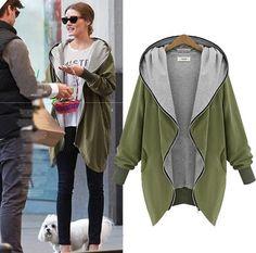 Cozy Army Green Plain Pockets Hooded Zipper Casual Coat #Comfy #Casual #Street #Style #Fall #Fashion #Ideas