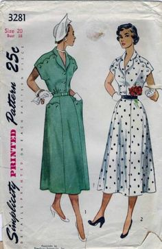Vintage 40s 50s Belted Dress Sewing Pattern 3281 B38 PLUS SIZE 20