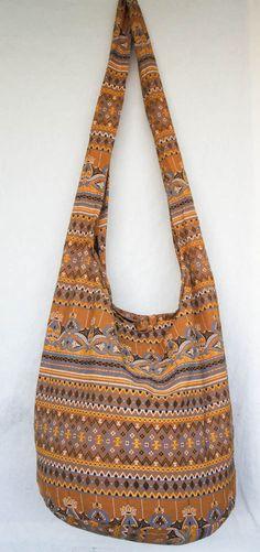 YAAMSTORE THAI brown flora hobo hippie boho bag sling by yaamstore