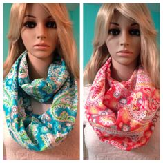 Paisley infinity scarf, aqua blue and coral, by Beckysscarfshop on Etsy, $15.00 Paisley Scarves, Coral Blue, Infinity, Trending Outfits, Unique Jewelry, Clothes, Vintage, Etsy, Fashion