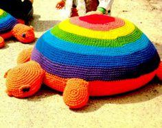 "Vintage 70s ""TURTLE"" Floor Pillow - PDF Crochet Pattern"