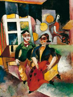 Franz Marc Painting - Young Couple by Heinrich Campendonk Modern Art, Expressionist Artists, Art Photography, German Expressionist, German Expressionism, Art Auction, Degenerate Art, Painting, Art