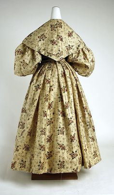 Afternoon dress Date: ca. 1835 Culture: American Medium: wool, silk Dimensions: (a) Length at CB (bodice): 7 1/2 in. (19.1 cm) (a) Length at CB (skirt): 37 3/4 in. (95.9 cm) (b) Length at CB: 14 1/4 in. (36.2 cm) Credit Line: Gift of Mrs. Alexander Wyckoff, 1954