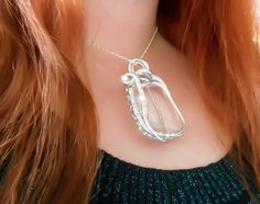 Wedding Necklace, Bridesmaid gift, Wire Wrapped, Pearl Necklace, Crystal Necklace, Silver Necklace, Once Upon A time, wrapped necklace