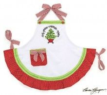"""""""Sing Praise Celebrate Rejoice"""" Christmas Tree Hand painted Child's Apron Gift"""