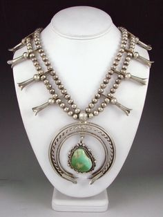 Necklace   Unknown Navajo Artist.  Sterling silver and Royston Turquoise.  ca. 1960s