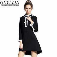 L- 5XL Frill Detail Elegant Autumn Dress  4XL 3XL XXL Long Sleeve Mock Neck  Slim Fit Flare Short
