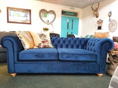 Only   Debenhams Deluxe Large Teal Chesterfield Sofa   (RRP