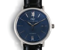 IWC Portofino 40MM Watch, Fashioned in Stainless Steel, Featuring a Black Dial, Black Alligator Strap and Automatic Movement