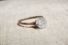 Quartz ring simple ring primitive organic jewelry by JD4dreamer, $12.00
