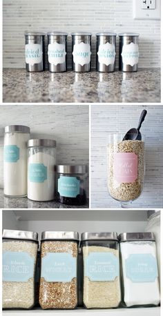 I dream of the space to (a) have jars and bottles to hold my condiments and (b) organized shelving with pretty labels in my kitchen.