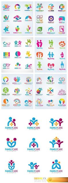 Find your Grapfix Desire With US http://www.desirefx.me/kids-child-logo-vector-set-design-7x-eps/