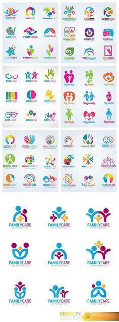 Find your Grapfix Desire With US www. Find your Grapfix Desire With US www. Logo Design Inspiration, Icon Design, Set Design, Kids Branding, Logo Branding, Daycare Logo, Modele Flyer, Cabinet Medical, Family Logo