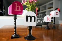Valentine's Day Mailboxes on a painted candle stick