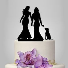 Lesbian Wedding Cake topper with dog, unique cake topper, couple gift