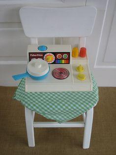 Toy Fisher Price Stove Children Girl Retro Kitchen by vintagejane