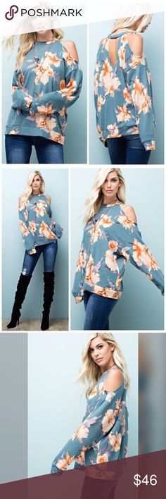 PREORDER Beautiful Raw Edge Super soft tunic FLORAL PRINTED, RAW EDGE KNIT, COLD SHOULDERED, LONG SLEEVE TUNIC WITH KEYHOLE BACK, IN A COMFY, LOOSE FIT. Tops Tunics