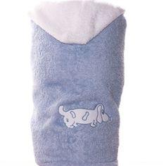 Toalla con capucha azul clarito con perro teckel bordado en blanco