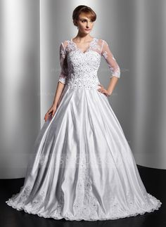 Wedding Dresses - $276.99 - Ball-Gown V-neck Floor-Length Satin Tulle Wedding Dress With Lace Beadwork Sequins (002014755) http://jjshouse.com/Ball-Gown-V-Neck-Floor-Length-Satin-Tulle-Wedding-Dress-With-Lace-Beadwork-Sequins-002014755-g14755?ver=0wdkv5eh