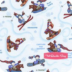 Winter Games Ice Blue Novelty Yardage SKU# Q7942-11 - Fat Quarter Shop