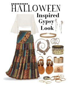 """HALLOWEEN- Gypsy Inspired Look"" by sadia1998 ❤ liked on Polyvore featuring Kendra Scott, Rosetta Getty, Panacea, Miss Selfridge, Daytrip, David Yurman, Alexander McQueen and Vintage America"