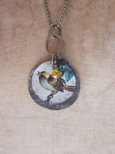 Tin Brown Bird Pendant Necklace by TheMadCutter on Etsy, $28.00