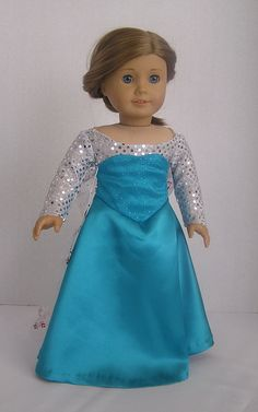 Frozen Princess Elsa Original Design Dress for American Girl Doll on Etsy, $30.00