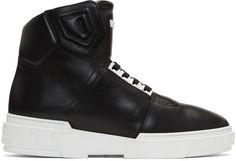Versace: Black Leather High-Top Sneakers | SSENSE