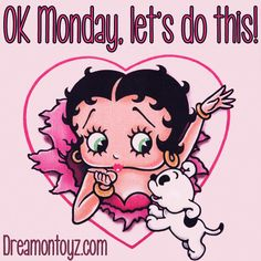 OK Monday, let's do this! MORE Betty Boop Images http://bettybooppicturesarchive.blogspot.com/  And on Facebook https://www.facebook.com/bettybooppictures   Betty Boop blowing a kiss inside a heart with Pudgy #Greeting
