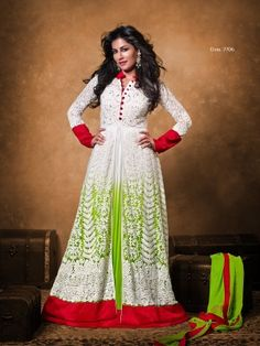 White Net Lovely Anarkali Salwar Kameez    Eid Anarkali salwar suit