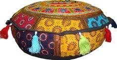 Elephant multicolor bohemian mirror work round cushion cover otto floor seat cover tapestry throw couch by TuganaCraft on Etsy https://www.etsy.com/listing/236589157/elephant-multicolor-bohemian-mirror-work