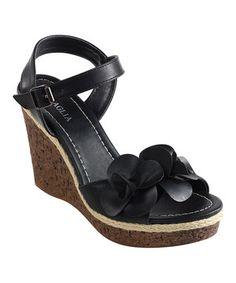 Love this Intaglia Black Elysia Wedge Sandal by Intaglia on #zulily! #zulilyfinds