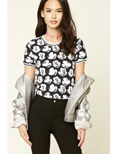 mickey-mouse-print-bodysuit by f21-contemporary. #fashion #newtrend #gorgeous #outfit #stylish #shoptagr