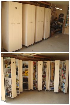 4 homemade rolling cabinets to organize all the tools in the garage. A DIYer's dream!