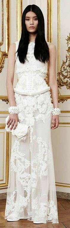 Givenchy white lace dress gown /kc